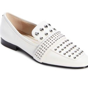 Sam Edelman white studded loafers
